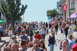 Crowds enjoying Portland Street during Switch